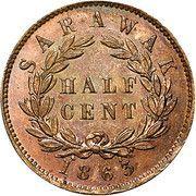 ½ Cent - James Brooke Rajah – reverse