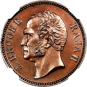 ½ Cent - James Brooke Rajah – obverse