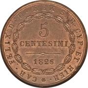 5 Centesimi - Carlo Felice – reverse