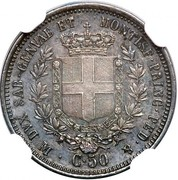 50 Centesimi - Vittorio Emmanuel II – reverse