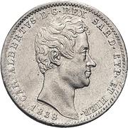 1 Lira - Carlo Alberto – obverse