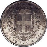 5 Lire - Vittorio Emmanuel II – reverse