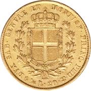 20 Lire - Carlo Alberto – reverse