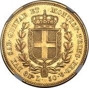 50 Lire - Carlo Alberto – reverse