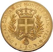 80 Lire - Vittorio Emanuele I – reverse