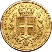 100 Lire - Carlo Alberto – reverse