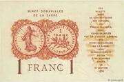 1 franc Mines Domaniales de la Sarre (type 1920) – reverse