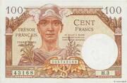 100 francs Trésor français (type 1947) – obverse