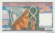 1000 francs Trésor public (type 1955) – obverse