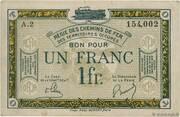 1 Franc - Régie des Chemin de Fer en Territoires Occupés – obverse