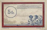 5 Francs - Régie des Chemin de Fer en Territoires Occupés – reverse