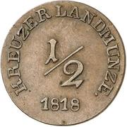 ½ Kreuzer - Louise Eleonore of Hohenlohe Langenburg (Princess Regent) – reverse