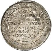 1 Thaler - Johan Adolf I. (Death) – reverse