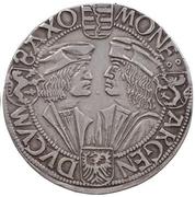 1 Guldengroschen ''Klappmützentaler'' - Friedrich III, Johann I and Georg – reverse