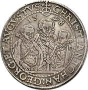 2 Thaler - Christian II., Johann Georg and August – obverse