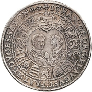 2 Thaler - Christian II., Johann Georg I. and August – reverse