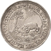 2 Thaler - Johann Georg I. (Accession; Affentaler) – reverse