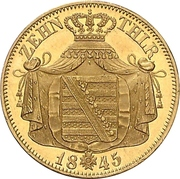 10 Thaler - Friedrich August II – reverse