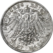 3 Mark - Friedrich August III. (Aluminium pattern strike) – reverse