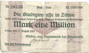1,000,000 Mark (Zittau; Städte- und Staatsbank der Oberlausitz) – obverse