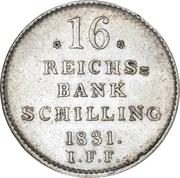 16 Reichsbank Schilling - Frederik VI. – reverse