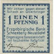 1 Pfennig (Erzgebirgische Bank) – obverse