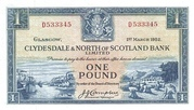 1 Pound (Clydesdale & North of Scotland Bank) – obverse
