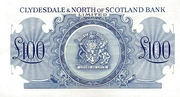 100 Pounds (Clydesdale & North of Scotland Bank) – reverse