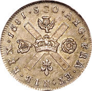 1/16 Dollar - Charles II (2nd Coinage) -  reverse