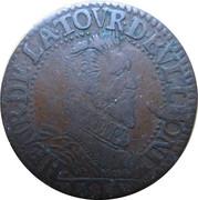 Liard - Henri de La Tour d'Auvergne (6th type, A variety, ruffed) – obverse