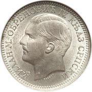 2 Dinara - Milan Obrenović IV – obverse