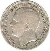 1 Dinar - Milan Obrenović IV -  obverse