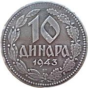 10 Dinara (German Occupation) – reverse