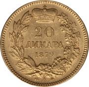 20 Dinara - Milan Obrenović IV – reverse