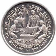 1 Dollar (Queen's Golden Jubilee) – reverse