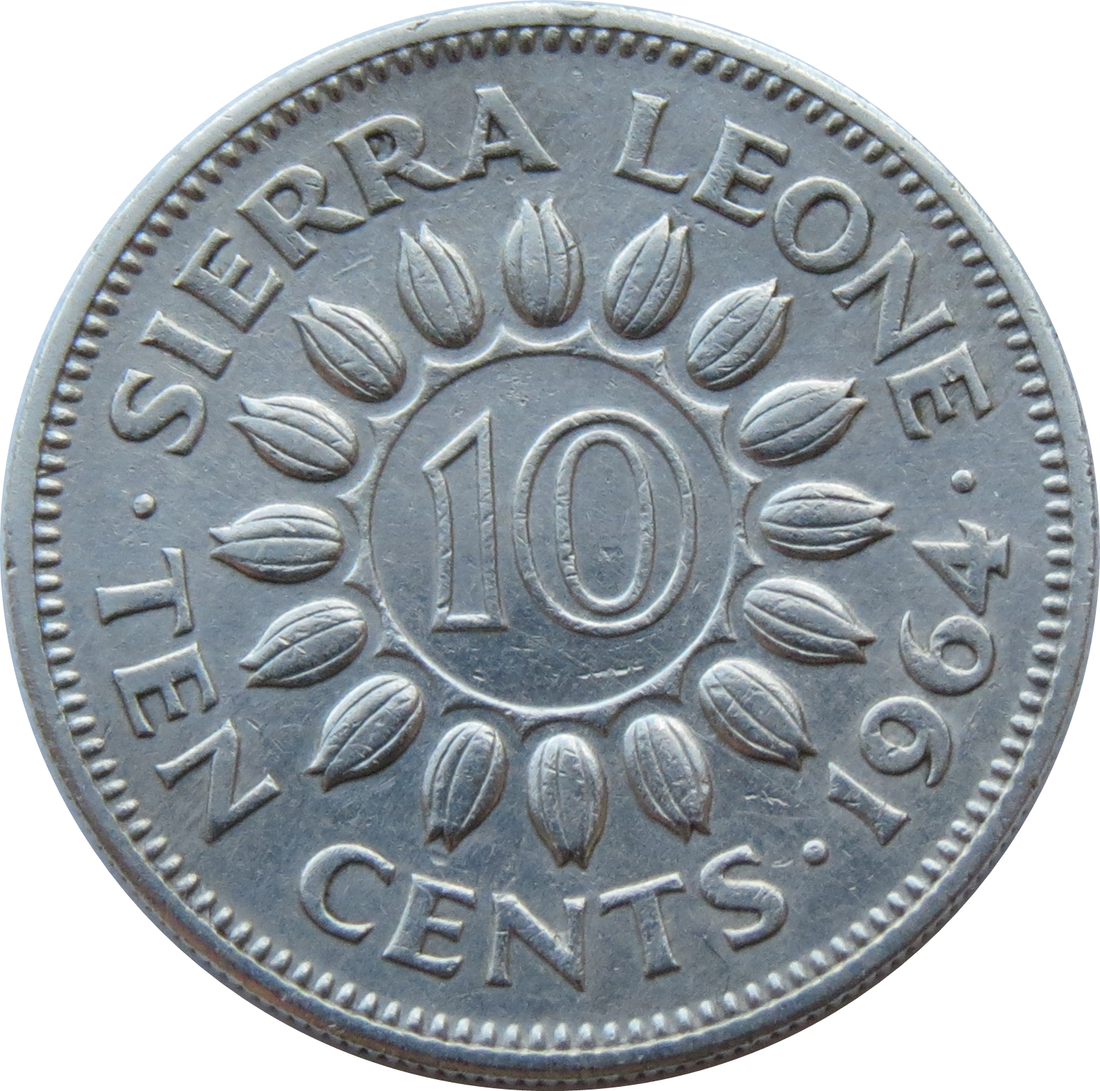 African coin km19 Circulated. Sierra Leone 10 Cents 1964