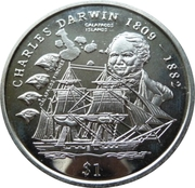 1 Dollar (Charles Darwin) – reverse