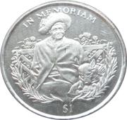 1 Dollar (Queen Mother in garden with dog) – reverse