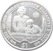 1 Dollar (Queen Elizabeth II and a young Prince Charles in window) – reverse