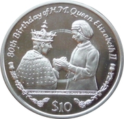 10 Dollars (Queen Elizabeth's 80th Birthday-Investiture of Prince Charles) – reverse