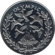 10 Dollars (Olympic Games - Peace Dove) – reverse