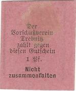 1 Pfennig (Trebnitz in Schlesien; Kaufmännischer Verein/Vorschußverein; gothic type) – reverse