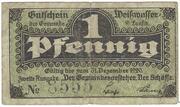 1 Pfennig (Weißwasser) – obverse