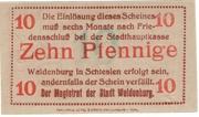 10 Pfennig (Waldenburg in Schlesien) – reverse