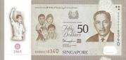 50 Dollars (50 Years of Nation-Building) – obverse