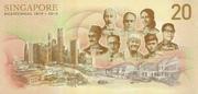 20 Dollars (Singapore Bicentennial) – reverse