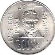200 Korún (Pavol Josef Safarik) – reverse