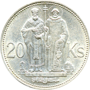 20 Korún (St. Cyril and St. Methodius) – reverse