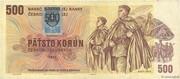 500 Korún (Provisional note) – obverse