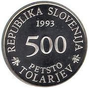 500 Tolarjev (Academia Operosorum Labacensium) – obverse